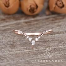 wedding photo - Dainty Custom Fit Rose Gold Wedding Band Women Marquise Moissanite Wedding Band Cluster Ring Vintage Inspired Ring Promise Ring Chevron Ring