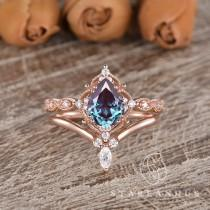 wedding photo - Lab Alexandrite Engagement Ring Unique Marquise Stacking Band Rose Gold 2pcs Vine Flower Rings Pear Alexandrite Brilliant Ring Chevron Ring