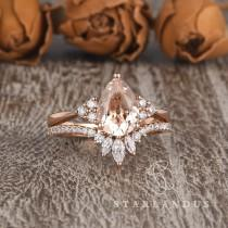wedding photo - 1.5ct Pear Shaped Morganite Ring Rose Gold Bridal Set Cluster Wedding Unique Morganite Engagement Ring Marquise Moissanite Chevron 2pcs