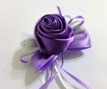 wedding photo - Purple Boutonniere, Lilac Satin Rose Boutonniere,  Purple Ribbon Rose Boutonniere