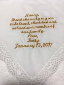 wedding photo - For Daughter-in-law, from mother in law, wedding wishes handkerchief, new family member handkerchief, welcome new daughter something blue210