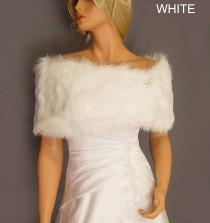wedding photo - faux fur shrug stole bridal wrap wedding in Angora bridesmaid cover up evening winter fur shawl for ball FW200 AVL in white & 3 other colors