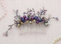 wedding photo - Mermaid Crown Purple Hair Comb Purple Wedding Dress Accessory Gothic Wedding Flower Crown Bridal Hair Comb Purple Wedding Hair Comb