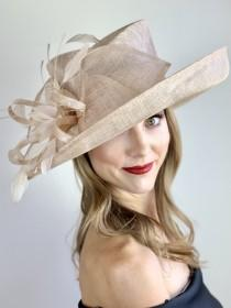 wedding photo - Nude Derby Hat, Adjustable from 22.5 and smaller, Church hat, Tea Party Hat, Fashion Hat, Kentucky Derby Hat, Fancy Hat