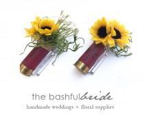 wedding photo - Sunflower bullet boutonniere, shotgun shell, sunflower corsage, wedding corsage, shotgun boutonniere, faux sunflower, farmhouse wedding