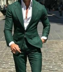wedding photo - Men Suits Green 2 Piece Formal Fashion Wedding Suit Groom Wear Slim Fit Party Wear One Button Men Suit Summer Suit Beach Suit