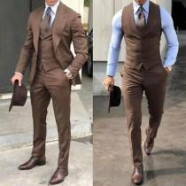 wedding photo - Men Suits, Luxury Brown 3 Piece Wedding Suits, Groom Wear One Button Coat Vest Pant Suits,