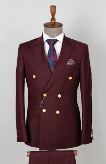 wedding photo - Double Breasted Maroon - 6 Button Button Men Suit