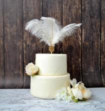 wedding photo - Gold Feather Cake Topper Great Gatsby 1920s Customized Wedding Cake Topper Personalized Cake Topper for Wedding Ostrich  Cake Topper