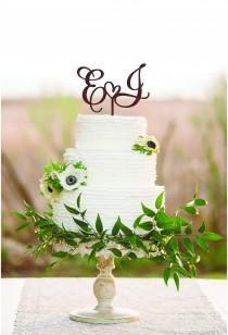wedding photo - Wedding Cake Topper Two letters cake topper J cake topper Cake toppers for wedding Wood rustic cake topper Initial cake topper E Letter j E
