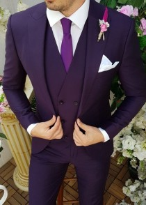 wedding photo - Men Wedding Suit Purple Groom 3 Piece Suit Slim Fit Formal Wear One Button Dinner Suit
