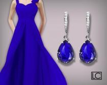wedding photo - Blue Crystal Earrings, Swarovski Majestic Blue Teardrop Earrings, Cobalt Silver Earrings, Sapphire Bridesmaid Jewelry, Royal Blue Earrings