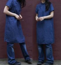 wedding photo - 196---Washed Linen Indigo Blue Qipao Dress, Cheongsam, Cheong-Sam, Mandarin Gown, Made to Measure.