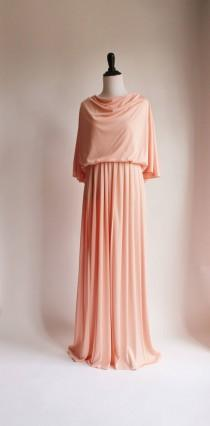 wedding photo - Vintage Womens Dress, Cape Dress, Grecian Gown, 70s Pink Maxi Dress