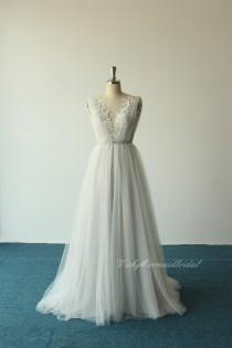 wedding photo - Romantic flowy open back deep V neckline tulle lace wedding dress, bohomian wedding dress with silver lining