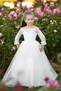 wedding photo - Off shoulder Ivory flower girl dress First Communion Baptism Special occasion