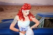 wedding photo - Swallow Wedding Dress: vintage-style / pin-up / rockabilly barge bride dress by TiCCi Rockabilly Clothing