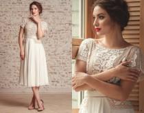 wedding photo - Ivory lace dress with short sleeves - Midi wedding or prom dress - Vyshyvanka embroidered dress - Romantic chiffon dress