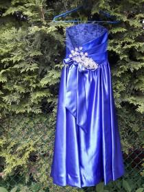 wedding photo - Royal Blue Dress for Prom Night, Size Small, Made of  Satin And Lace, Great as a Bridesmaid Dresses or for a Formal Event