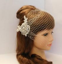 "wedding photo - Bridal Birdcage veil Blusher veil 9"" Veil White,Ivory #birdcage veil Bandeaue style Gatsby 1920's  2 Pc Set Veil & 3D Crystal Lace Hair clip"