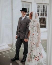 wedding photo - Flower veil, Floral veil ,secret garden veil, boho veil,  wild flower veil, embroidered veil, flower and fawna, romantic veil,bridal veil