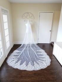 wedding photo - Cathedral alencon lace with sequins one tier wedding veil, white, ivory, or blush, over 9 feet long