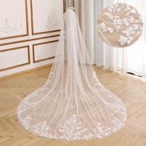 wedding photo - Elegant Bridal Veil with Leaf Lace Applique Cathedral Wedding Veil Soft Tulle Wedding Veil Floral Lace Veil Ivory Chapel Bridal Veil