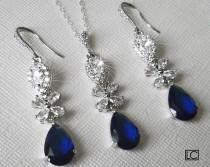 wedding photo - Navy Blue Crystal Wedding Jewelry Set, Sapphire Teardrop Chandelier Earrings, Blue Crystal Pendant, Navy Cubic Zirconia Bridal Jewelry Set