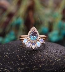 wedding photo - Alexandrite engagement ring  vintage pear shaped moissanite unique Wedding Ring set Jewelry art deco Anniversary wedding ring