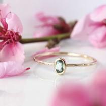 wedding photo - Sapphire & 14k gold ring, sapphire engagement ring, Montana sapphire, pear cut, unique modern bride anniversary September birthstone