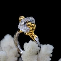 wedding photo - Stone Jewelry: boho crystal ring with Raw Natural Herkimer Diamond plated silver - unique gift for her