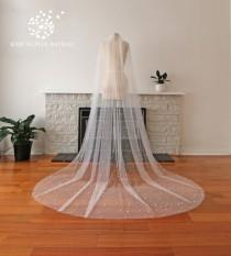 wedding photo - MILLA Pearl veil, long veil, cathedral veil, chapel veil, floor veil, wedding veil, bridal veil, handmade veil, custom veil.