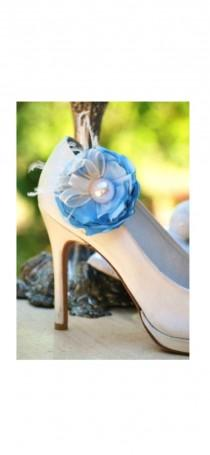 wedding photo - Wedding Shoe Clips Blue. Red White Ivory Purple Flower. Pearl Feather. Handmade Couture Shoe Clip. Bridesmaid Elegant Gift. Satin Brooch Pin