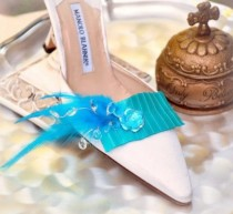 wedding photo - Shoe Clips Turquoise / Black / Ivory / Pink. Bold Style Couture Ruffle, Fashionista Wedding. Sophisticated Chic Bride, Satin Ribbon Crystals
