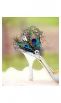 wedding photo - Fancy Peacock Duo & Teal / Turquoise Shoe Clips. Spring Couture Bride Bridesmaid, Chic Bridal Maid of Honor Gift, Silver Gem, Girlfriend BFF