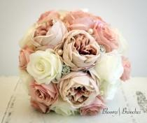 wedding photo - Blush and Ivory Wedding Bouquet, Wedding Flowers, Bridesmaid Bouquets, Corsage, bridal Flower Package