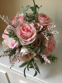 "wedding photo - The ""Leah"" Pink Rose And HeatherWedding  Bridal Bouquet"