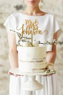 wedding photo - Gold Rustic Wedding Cake Topper, Mr and Mrs Cake Topper, Custom Your Own Last Name