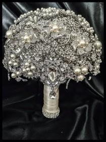wedding photo - Rich Classic Pearl Brooch Bouquet. FULL PRICE Crystal Bling Glam Pearl Brooch Bridal Bouquet. Pearl ivory silver Broach Bouquet