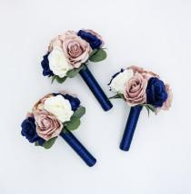 wedding photo - Wedding Bouquets, Navy, Dusty Rose and Ivory Wedding Bouquet, Wedding Flowers, Bridesmaid Bouquets, Corsage, bridal Flower Package