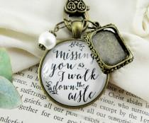 wedding photo - Customized Wedding Bouquet Memory Charm Missing You As I Walk Down the Aisle, Bridal Pendant Memorial Remembrance Photo Jewelry Family Charm
