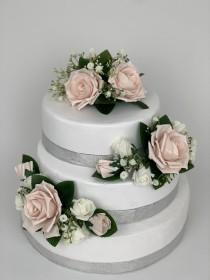 wedding photo - Wedding flowers cake topper roses 3 pieces tier bouquets