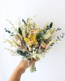wedding photo - Blush Strawflowers Eucalyptus Bouquet / Sustainable Forever Wedding flowers / Dried + Preserved bouquet