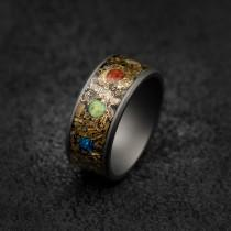 wedding photo - marvel infinity ring, Meteorite ring ,mens wedding band, Opal ring, tungsten, Unique mens ring, Decazi, mens ring, rings for men.