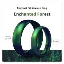 wedding photo - Knot Theory Enchanted Forest Silicone Ring for Couples - Breathable Matching Green Rubber Wedding Band - Birthstone Dark Emerald Gift