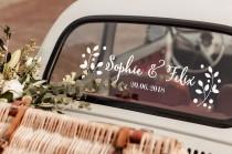 wedding photo - Floral Sticker - Car decoration for wedding - Just married car sticker