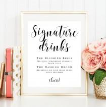 wedding photo - Signature drink sign download Editable template Wedding template Signature cocktail sign Wedding drink menu template Menu board sign #vm31