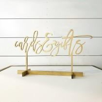 wedding photo - Cards and Gifts sign, modern script table number, Freestanding table numbers, calligraphy table numbers, wedding table numbers, gold table
