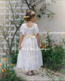 wedding photo - lace flower girl dress, flower girl dress, bohemian flower girl dress, boho flower girl dress, ivory flower girl dress, flower girl dresses