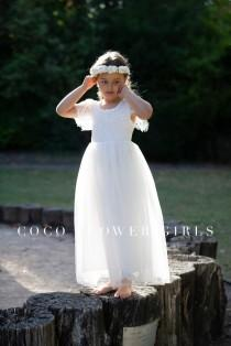 wedding photo - Very Pretty Long White Layered Tulle Lace Flutter Sleeve Flower Girl Dress - Ice White - Bohemian Hippy Beach Rustic Wedding Style
